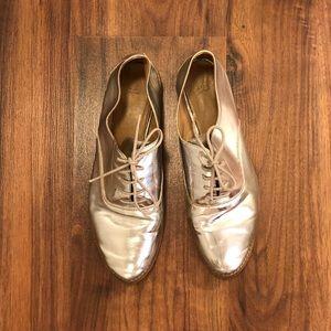 Zara Basics Silver Leather Shoe